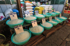 Different varieties of rice for sale on a local market in Hanoi, Vietnam Royalty Free Stock Photography