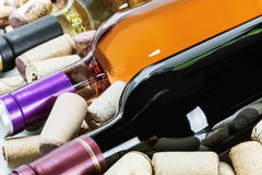 Different varieties Wine and corks Stock Photos