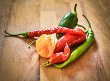 Different Variety of chillies stock photography