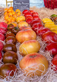 DIFFERENT VARIETY OF FRESH TOMATOES. IN A MARKET STREET IN PROVENCE, FRANCE Stock Photos