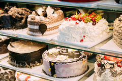 Different Various Types Of Sweet Cakes In Pastry Shop Glass Display Royalty Free Stock Images