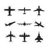 Different vector airplanes icon set. Different monochrome vector airplanes icon set Royalty Free Stock Photo
