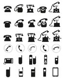 Different Vector black telephone icons set on white background. Royalty Free Stock Photography