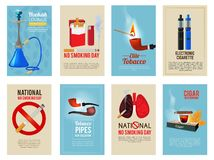 Different vector cards with illustrations of various tools for smokers. Card with cigarette and tobacco, poster banner ban cigar Royalty Free Stock Photos