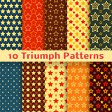 Different vector holiday triumph star shape. 10 Different vector holiday triumph star shape  seamless patterns (tiling). Endless texture can be used for printing Stock Photo