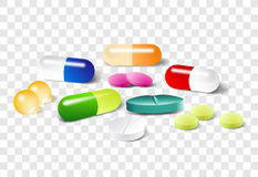 Different vector pills on a transparent background Stock Photography