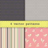 4 different vector seamless pattern. Endless texture can be used for wallpaper, pattern fills, web page background,surface textures Royalty Free Stock Image