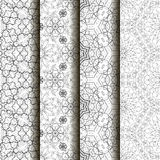 4 different vector seamless patterns. Complicated black and white backgrounds, textures. Ornament of fine lines.  Endless texture can be used for wallpaper Stock Photos