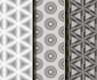 3 different vector seamless patterns. Geometric different  3D shape. Endless texture can be used for wallpaper, pattern fills, web page background,surface Stock Photo