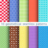 10 different vector seamless patterns. Set of variegated geometric ornaments. Endless texture can be used for wallpaper, pattern fills, web page background royalty free illustration