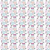 Different vector seamless patterns with swatch. Endless texture can be used for wallpaper, fills, web page background, surface t. Extures with heart, sunglasses Stock Image
