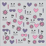 Different vector seamless patterns with swatch. Endless texture can be used for wallpaper, fills, web page background, surface t. Extures with heart, sunglasses Royalty Free Stock Images