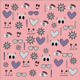 Different vector seamless patterns with swatch. Endless texture can be used for wallpaper, fills, web page background, surface t. Extures with heart, sunglasses Stock Images