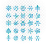 Different vector snowflakes collection Royalty Free Stock Photo