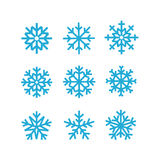 Different vector snowflakes collection. Vector ice crystal set Stock Photo