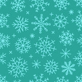 Different vector snowflakes seamless background. Vector ice crystals Stock Images