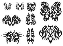 Different vector tribal tattoo. Set of 9 different vector tribal tattoo Royalty Free Stock Image