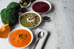 Different Vegan Food. Colorful Vegetables Cream Soups And Ingredients For Soup. Healthy Eating, Dieting, Vegetarian