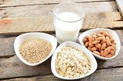 Different vegan milk in glass. Almond milk, sezame milk and oatmeal milk. royalty free stock photos