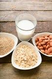 Different vegan milk in glass. Almond milk, sezame milk and oatmeal milk. stock photo
