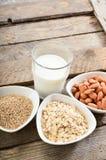 Different vegan milk in glass. Almond milk, sezame milk and oatmeal milk. royalty free stock photography