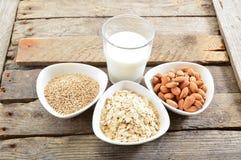 Different vegan milk in glass. Almond milk, sezame milk and oatmeal milk. royalty free stock image