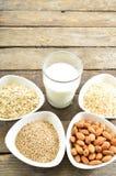 Different vegan milk in glass. Almond milk, sezame milk and oatmeal milk. royalty free stock photo