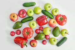 Free Different Vegetables And Fruit Isolated On White Background Stock Photo - 181384890
