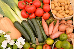 Different vegetables. Background of different vegetables, fruits and flowers Royalty Free Stock Images