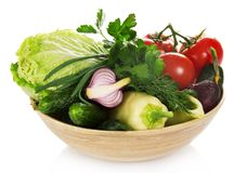 Different vegetables in a bamboo bowl Royalty Free Stock Photography