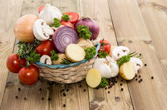 Different Vegetables in a basket Royalty Free Stock Image