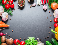 Different vegetables. Beautiful background healthy organic eating. Studio photography the frame of different vegetables and mushrooms on vintage table with free Royalty Free Stock Photos