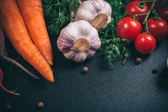 Different vegetables. Beautiful background healthy organic eating. Studio photography the frame of different vegetables and mushrooms on vintage table with free Stock Photos