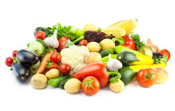 Different Vegetables / Big Assortment of Food - isolated Royalty Free Stock Photos