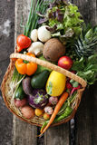 Different vegetables in big basket. top view Royalty Free Stock Photography