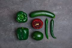 Different vegetables and fruits. On dark background, top view royalty free stock photography