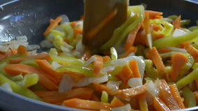 Different vegetables in a frying pan. For frying stock video
