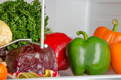 Different vegetables inside a refrigerator Royalty Free Stock Photos