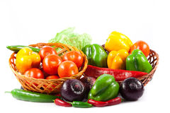 Different vegetables isolated on white background healthy food Stock Photo