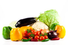Different vegetables isolated on white background Royalty Free Stock Photos