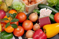 Different vegetables and seasonal fruits with cash Royalty Free Stock Photography