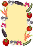 Different vegetables surround a large text field Stock Images