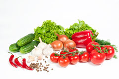 Different vegetables. On white background Stock Photos