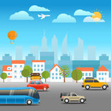 Different vehicles on a road. Vacation traffic Stock Image