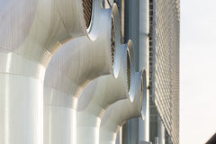 Different  ventilation chimneys painted steel. Close up of different  ventilation chimneys painted steel Royalty Free Stock Image