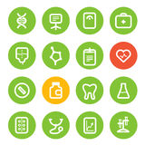 Different vertical healthcare color icons set Stock Image