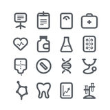 Different vertical healthcare icons set with round Royalty Free Stock Photography