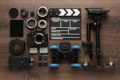 Different video equipment view from above Stock Photo