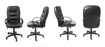 Different views of black office leather chair Royalty Free Stock Photo