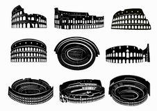 Different views of roman Colosseum royalty free stock photo